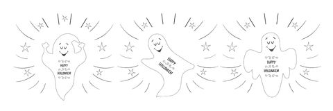 Funny ghosts flying in the night sky. Happy Halloween card Royalty Free Stock Photography