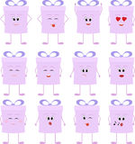 Funny gift boxes cartoon characters with bows. Christmas gift box set Stock Photos