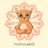 A funny ginger yogi kitten sits in a lotus pose. Royalty Free Stock Image