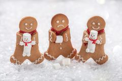 Funny Gingerbread cookie men with marshmallow snowman Royalty Free Stock Photography