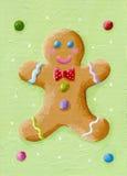 Funny gingerbread man. Acrylic illustration of funny gingerbread man stock illustration