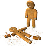 Funny Gingerbread Man Broken Cookie Isolated. Fun and funny illustration scene of a dead and broken holiday Christmas gingerbread man cookies. The cookie has Royalty Free Stock Photos