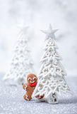 Funny gingerbread man card Royalty Free Stock Photo