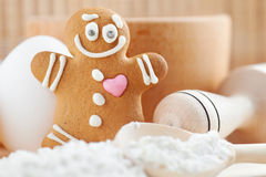 Funny gingerbread man royalty free stock photo