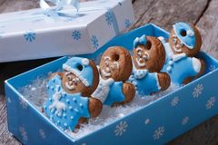 Funny gingerbread men in blue box Royalty Free Stock Photography