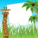 Funny giraffe on background of palm trees Royalty Free Stock Photos