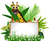 Funny giraffe with blank sign. Vector illustration of funny giraffe with blank sign and tropical forest background Royalty Free Stock Photography