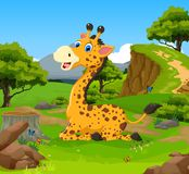 Funny giraffe cartoon sitting in the jungle with landscape background Royalty Free Stock Image