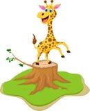 Funny giraffe cartoon on tree stump Stock Photography