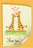 Funny giraffe couple in love Stock Photos