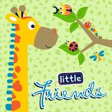Giraffe cartoon with little friends on leaves background pattern. Funny giraffe with cute insects. Vector cartoon illustration, no mesh, vector on eps 10 stock illustration
