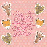Funny giraffe, fox, wolf labyrinth game for Preschool Children. Vector Royalty Free Stock Image