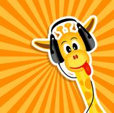Funny giraffe with headphones Royalty Free Stock Image