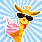 Funny giraffe with pink ice cream Stock Photography
