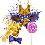 Funny giraffe T-shirt graphics. funny giraffe illustration with splash watercolor textured  background. unusual illustration water. Funny giraffe T-shirt Royalty Free Stock Photo