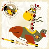 Fighter jet with funny pilot cartoon. Funny giraffe the warplane pilot. Vector cartoon illustration, no mesh, vector on eps 10 Royalty Free Stock Photo