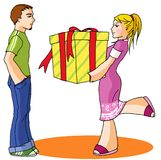 Funny girl 05. A gift for boy friend with big love Royalty Free Stock Image