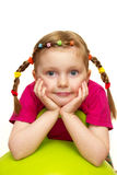 Funny girl. Funny smiling little girl portrait over white background Royalty Free Stock Photo
