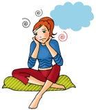 Funny girl 12. Cute cartoon style girl thinking something Stock Image