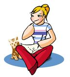 Funny girl 25. Lovely girl writing letter with cat Royalty Free Stock Photo