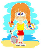 Funny girl with ball and rackets Stock Photo