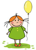 Funny girl with balloon Royalty Free Stock Images