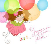 Funny girl with balloons Stock Photo
