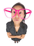 Funny girl with big glasses Stock Images