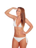 Funny girl in bikini looking something Royalty Free Stock Photography