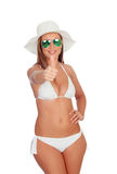 Funny girl in bikini saying Ok Stock Photos