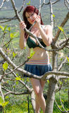 Funny girl in bikini on tree Stock Images