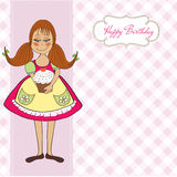 Funny girl with birthday cake Stock Photos