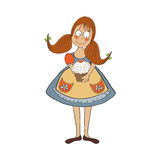 Funny girl with birthday cake Stock Photography