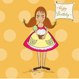 Funny girl with birthday cake Royalty Free Stock Images