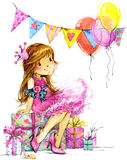Funny girl and birthday holiday background. watercolor illustration. Funny girl and birthday holiday background for kids congratulations. watercolor illustration Royalty Free Stock Image