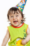 Funny girl in birthday isolated on white Stock Photos
