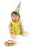 Funny girl in birthday isolated on white Stock Photo