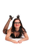 Funny girl in black lingerie Royalty Free Stock Image