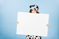 Funny girl with blank empty banner board. Royalty Free Stock Photos