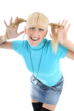 Funny girl in blue Stock Photos