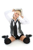Funny girl with book Royalty Free Stock Image