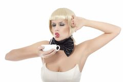 Funny girl with bow Royalty Free Stock Photography