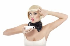 Funny girl with bow Stock Image
