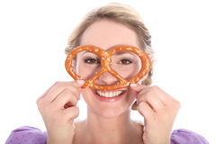 Funny girl with bretzel Stock Photos