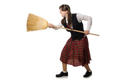 Funny girl with broom isolated on white Stock Photos