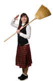Funny girl with broom isolated on white Stock Photography