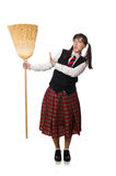 Funny girl with broom isolated on white Royalty Free Stock Photos
