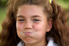 Funny girl brushing teeth Royalty Free Stock Photo