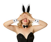 Funny girl in a bunny suit, closed her eyes Royalty Free Stock Image