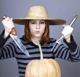 Funny girl in cap Stock Photos